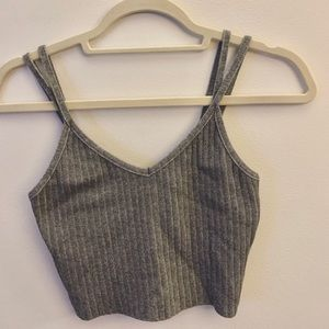 Tops - Gray Double-Strapped Ribbed Crop Top